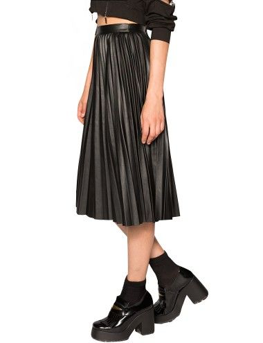 Pixie Market Pleats Please Leather Midi Skirt - Black Leather Midi Skirt - $39 #pixiemarket.com