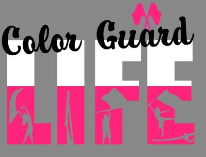 Color Guard Life t-shirt.  Design Color is for the swing flags and the bottom part of LIFE.  For this listing, the shirt is gray.