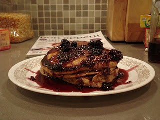 Whole Grain Pancakes with Wild Blueberry-Maple Syrup