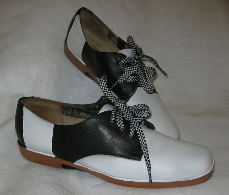 Saddle oxfords - I bought black shoes at resale for $3.99 and painted them, of course I forgot the before picture