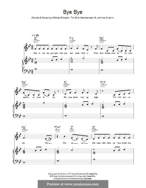Bye Bye (Mariah Carey): For voice and piano (or guitar) by Johntá Austin, Mikkel Storleer Eriksen, Tor Erik Hermansen