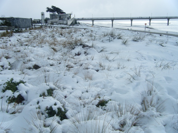New Brighton beach, Snow Day 2011 - Christchurch