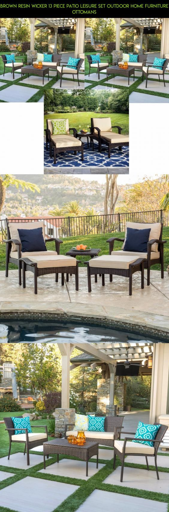 Oakland living elite resin wicker coffee table in coffee walmart com - Brown Resin Wicker 13 Piece Patio Leisure Set Outdoor Home Furniture Ottomans Drone Fpv