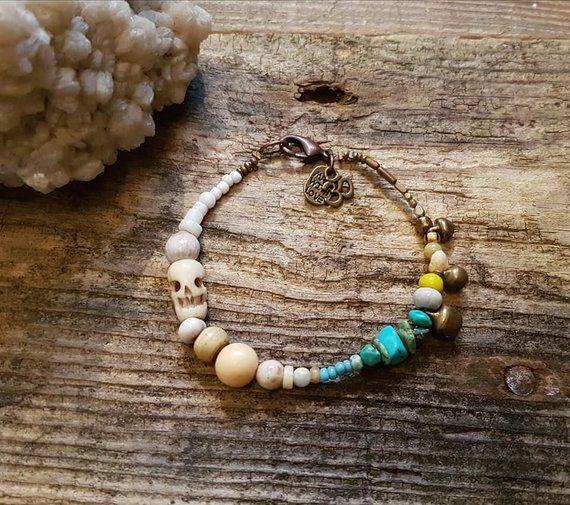 Boho Nut and wood beaded bracelet