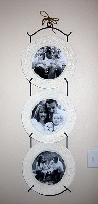 plate hanger and chargers as photo frame