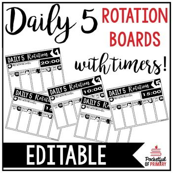 Daily 5 Rotation Boards | E... by Pocketful of Primary | Teachers Pay Teachers