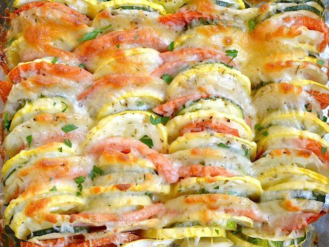 summer vegetable tian - for real, made it, ate it, it was GOOD!!! Fed a crowd too, it was gone. Not like your typical boring salad that people feel obligated to eat. Try it!