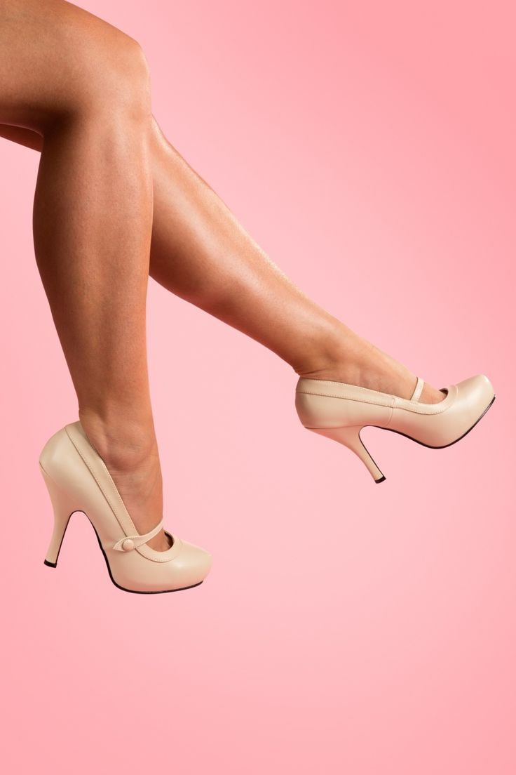 40s Cutiepie Mary Jane Beige platform pumps from Pinup Couture - With…
