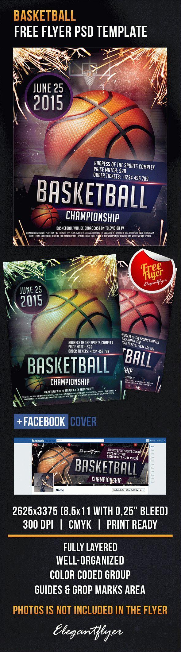 Basketball – Free Flyer PSD Template + Facebook Cover