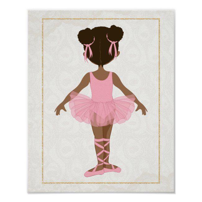 African American Ballerina Wall Art Dark Skin Ballerina Girls Nursery Decor Black Ballerina Watercolor Ballerina Themed Bedroom Print
