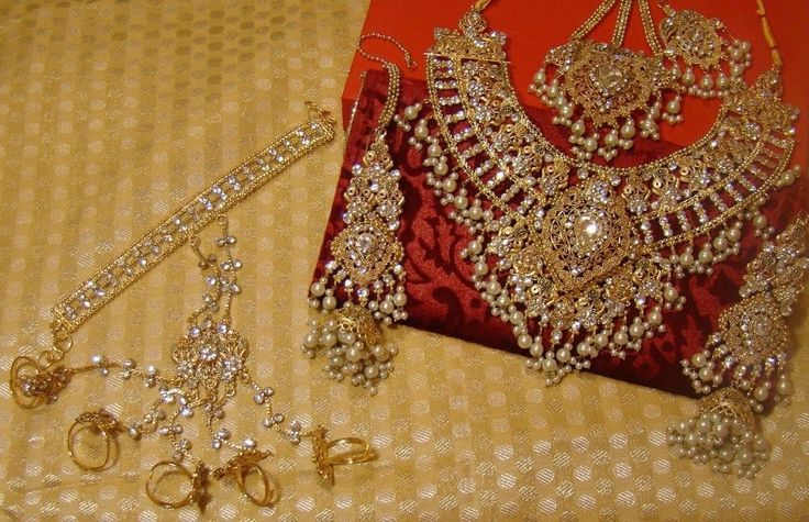 Indian CZ Kundan Diamantes Pearl Polki Gold Wedding Bridal Necklace Earrings Set