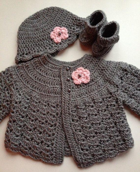 Crochet Baby Sweater Hat Booties Set Heather Grey 3-6 months