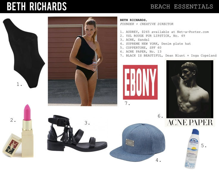 Check out Beth's list of beach essentials. Mix with sun and you're set!    Shop the Audrey at Net-A-Porter http://www.net-a-porter.com/product/196518