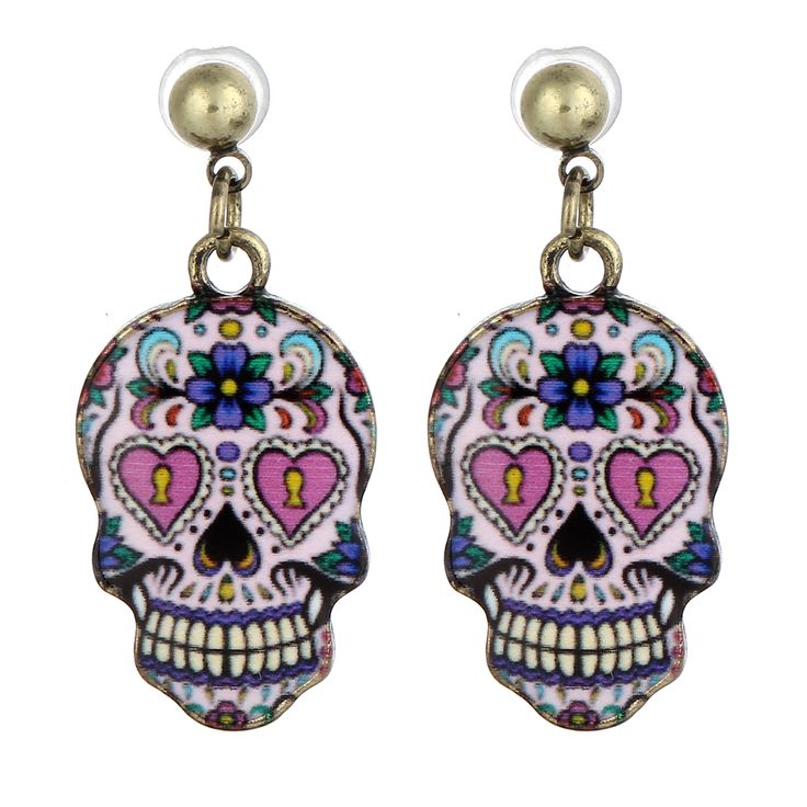 Hot Sale Women Funny Skull Stud Earrings 1 Pair Trendy Style Stud Earrings For Girls 22*13mm Skull Stud Earrings 2017 Fashion