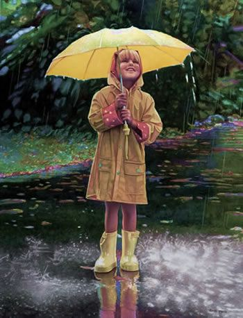 Yellow umbrella in the rain