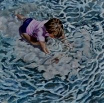 'Stiring up the Sand' a painting of light reflecting off the child's skin and the water while playing in the shallows at the beach. 450x450mm Acrylic Paint with Oil Paint Glaze on Canvas Priced at $280