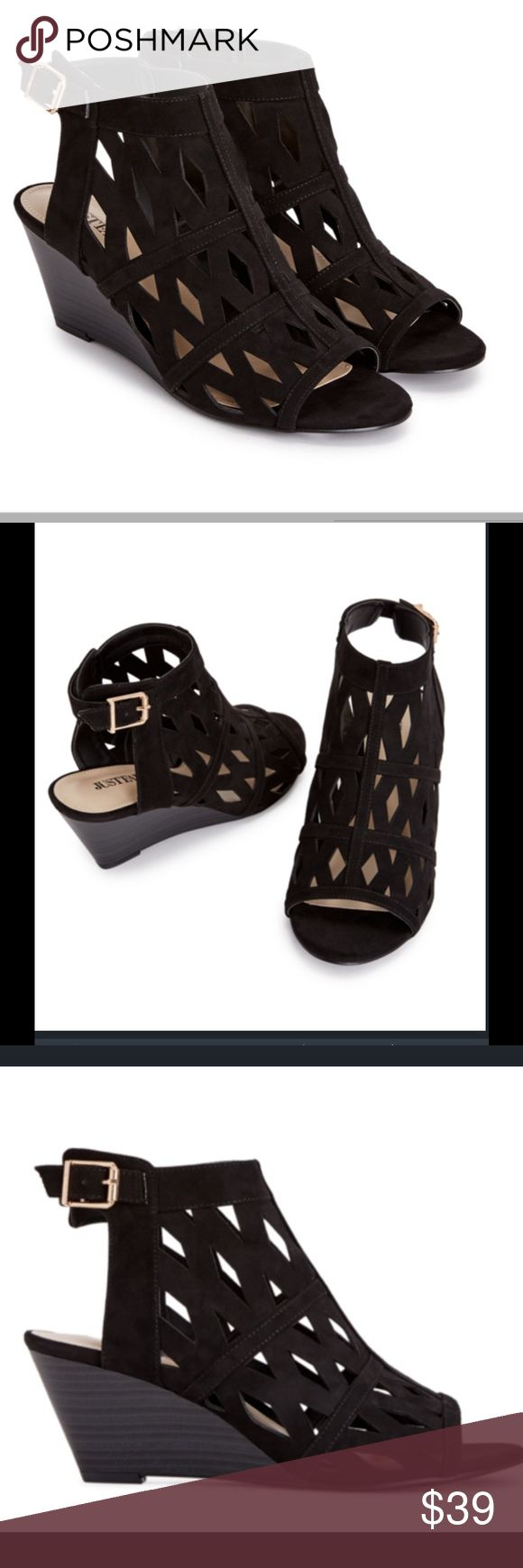 "Black Trendy Wedges With Cutouts 2.25"" wedge height. Gives you the trendy look without a too high height.  Cute & comfortable. Shoe Dazzle Shoes Wedges"