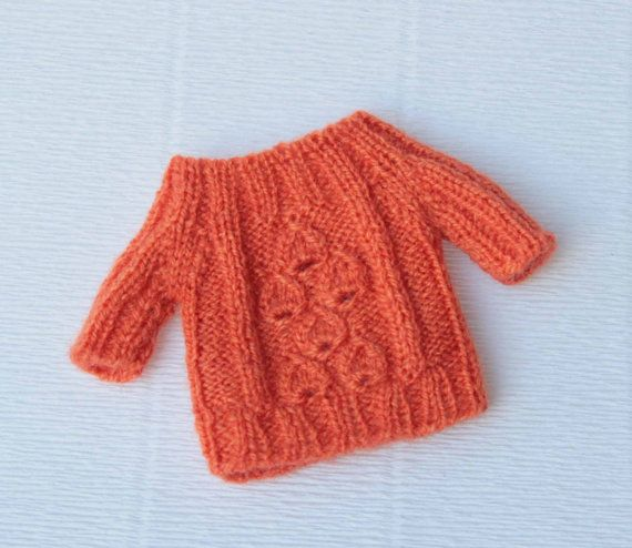 Blythe orange sweater Doll hand knitted by VolnaDollsClother
