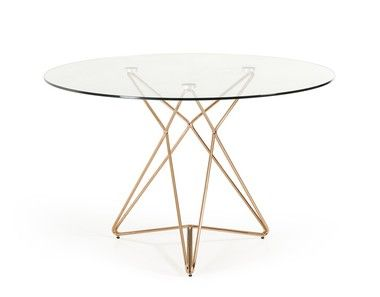 Modern Clear Round Glass Top Gold Stainless Steel Base Dining Table