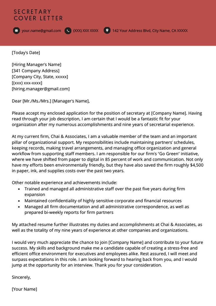 Secretary Cover Letter Example Resume Genius Cover