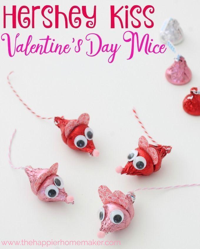 ddfa0219fa13e623e15061c9f5943122 cute valentines day gifts kids valentines - Valentine's Day Hershey Kiss Mice This is such a cute DIY Valentine's Day ...