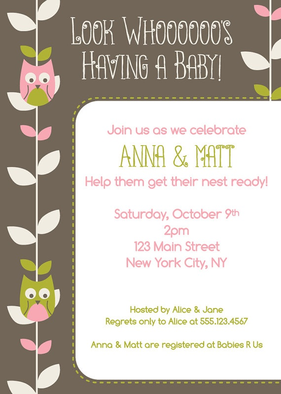 baby shower invitation with cute owls