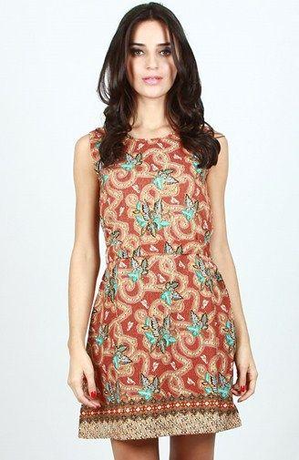 Image result for a-line batik dress sleeveless indonesia