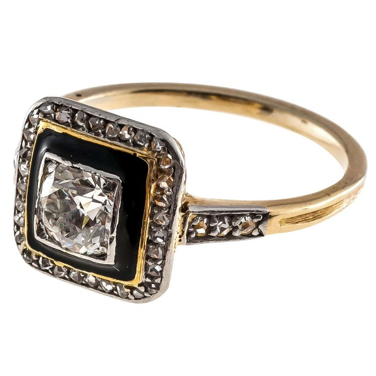 Art Deco Black Enamel Diamond Yellow Gold Platinum Ring | From a unique collection of vintage more rings at https://www.1stdibs.com/jewelry/rings/more-rings/