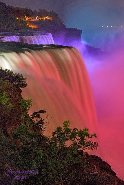 """The Falls and Lights"" ~ ""Niagara Falls at night – constantly changing lights. Canadian falls through light mist top right"" • by James Watkins via"