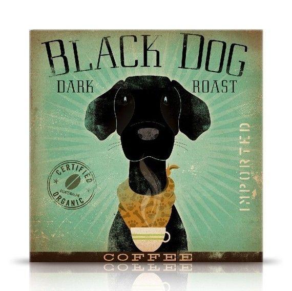 Black Dog Coffee black labrador original graphic by geministudio, $39.00
