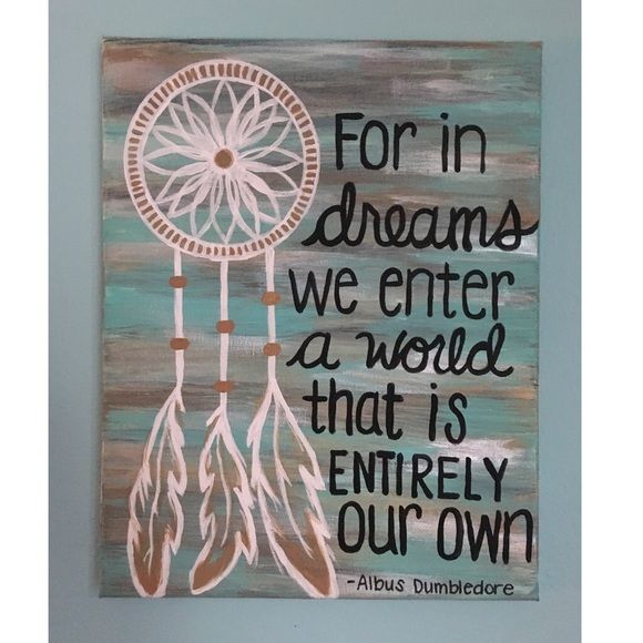 Handmade Canvas Dreamcatcher Painting 11 x 14 inches on stretched canvas. Turquoise, Pearl, Gold, Bronze colors. Hand painted with acrylic paints. Dream catcher & Quote from Harry Potter movie. One of kind made by me Handmade Other