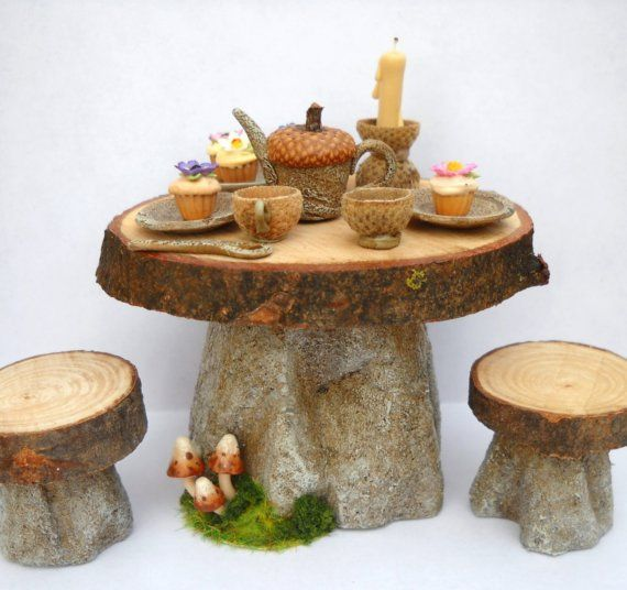 1/12TH scale FAIRY WITCH HOUSE  TABLE AND STOOLS SET