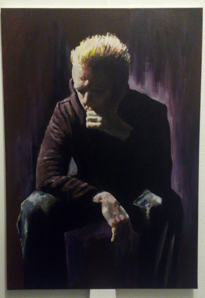 'Self portrait, blonde hair, black hooded top' by Mata Haggis, 2013. Oil on Canvas. 70x100cm | Matazone Art