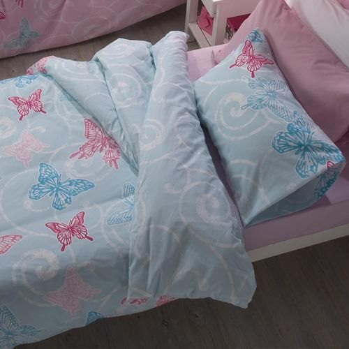 Flutter is also lovely in blue, pink bed linen co-ordinates perfectly