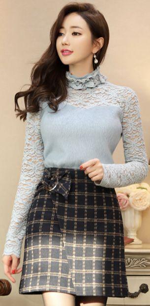 StyleOnme_Check Print Wool Blend Wrap Style Skort #feminine #wool #miniskirt #koreanfashion #kstyle #kfashion #seoul