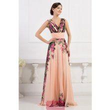 Lososové květinové šaty s výstřihem do V