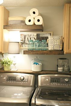Cute laundry room. Floating shelves. I really like that piece of wood behind the washer/dryer. Great idea.