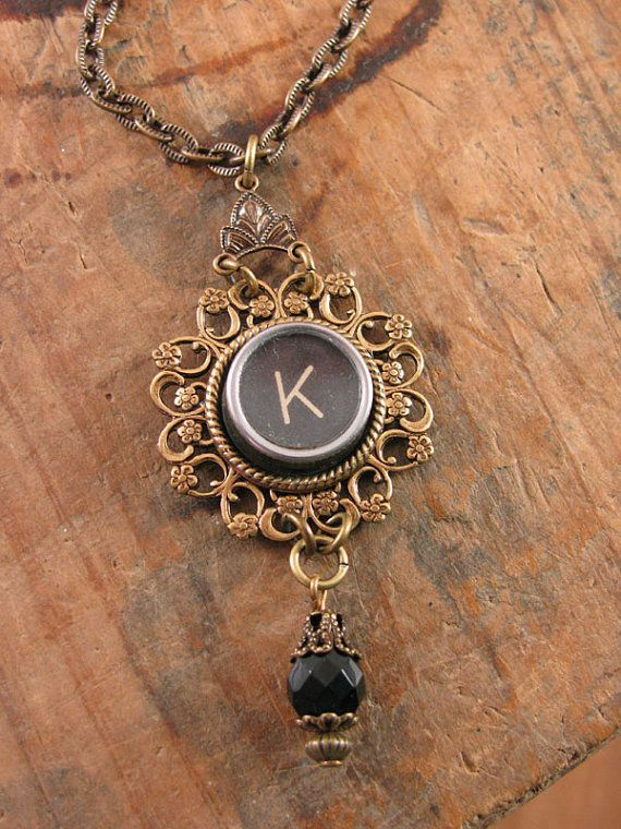Typewriter Key Jewelry Authentic Black Initial K by thekeyofa