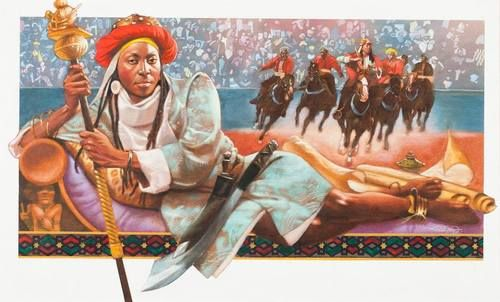 """Queen Amina of Zaria: Born(1533-1610?), Reigned(1588-1589?) Artist: Floyd Cooper (1956-) Amina Mohamud (also called Aminatu) was a Hausa Muslim Warrior Queen of Zazzau (now Zaria), in what is now north central Nigeria. She was a brilliant military strategist she fought many wars and won them all. Amina is credited with building the famous Zaria wall. She is remembered today as """"Amina, Yar Bakwa ta san rana,"""" meaning """"Amina, daughter of Nikatau, a woman as capable as a man."""""""