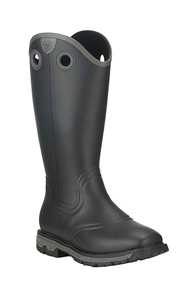 Ariat Work Men's Conquest Black Rubber Buckaroo Square Toe Work Boots | Cavender's