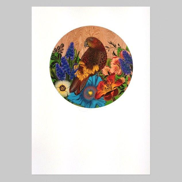 Kaka Round Print by Flox