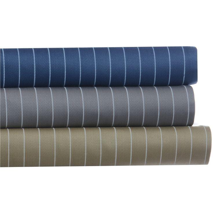 Eddie Bauer Pinstripe Cotton Sateen 4-piece Queen Size Sheet Set in Gray