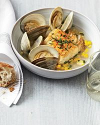 Ten-Minute Salt Cod with Corn and Littleneck Clams Recipe from Food & Wine