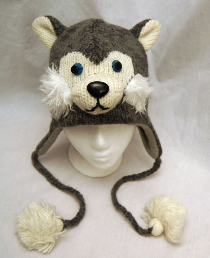 Siberian Husky Hat Huskies Adult Knit Lined Delux Dog