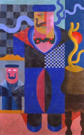 Fortunato Depero - Architettura sintetica di uomo (Uomo con i baffi)  1916-17