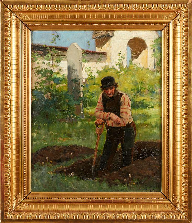 JOHAN TIRÉN (1853-1911): Dödgrävaren, signerad och daterad J Tirén -82, olja på duk, ca 59x48 cm