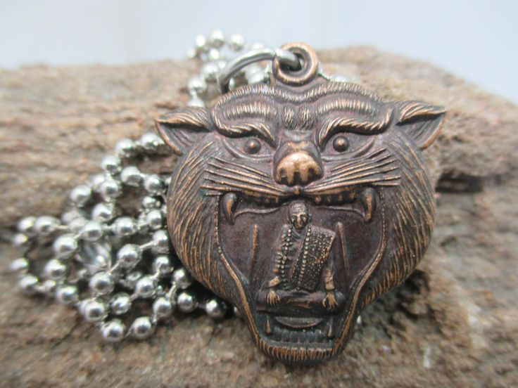 "Auth blessed Thai Tiger head mask Monk amulet  pendant silver plated ball chain 19"" by Lotusgemstone on Etsy"