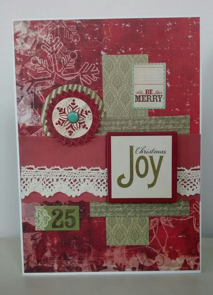 Christmas card using My Mind's Eye embellishments and Kaisercraft St Nicholas paper