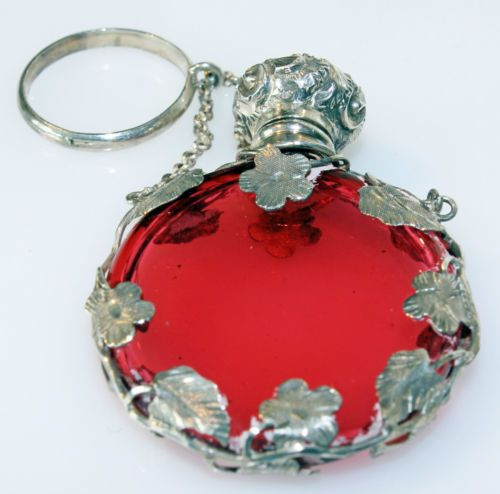 Antique-Victorian-Silver-Chatelaine-Cranberry-Glass-Perfume-Scent-Bottle