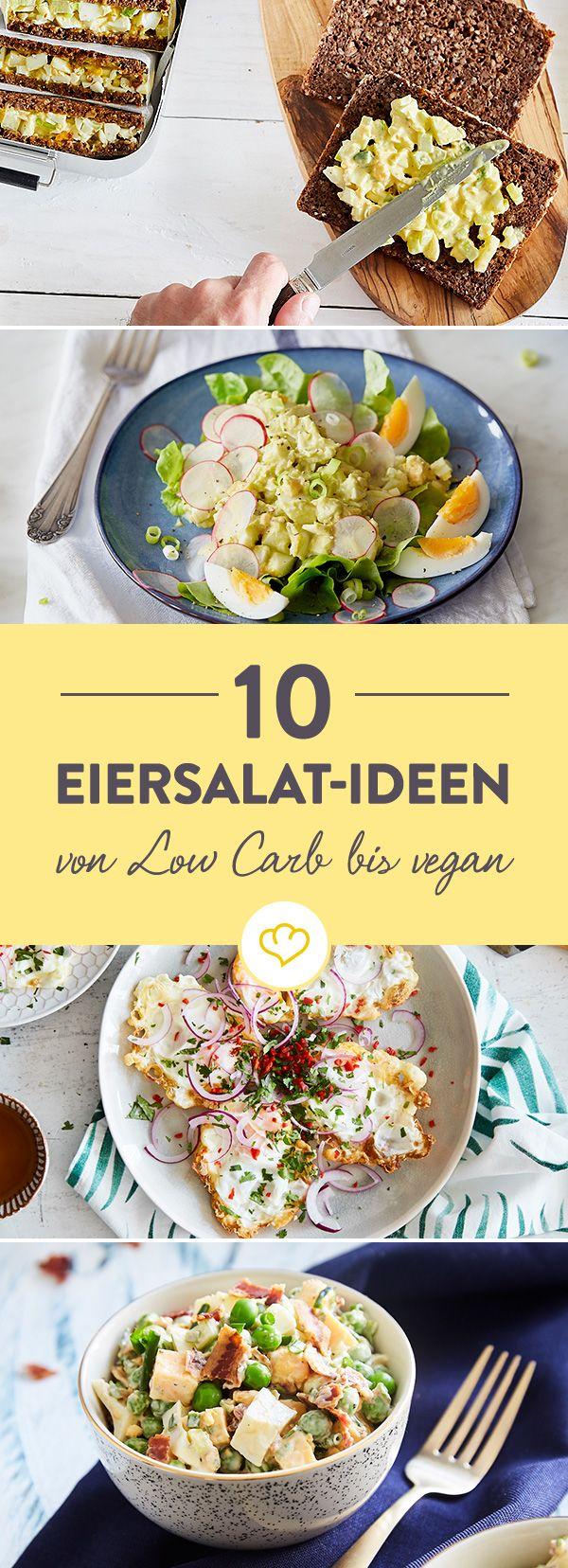 Mal klassisch mit Mayonnaise, mal gesund mit Avocado, mal raffiniert mit Kapern - diese 10 Eiersalate zeigen, was sie alles auf dem Kasten haben.